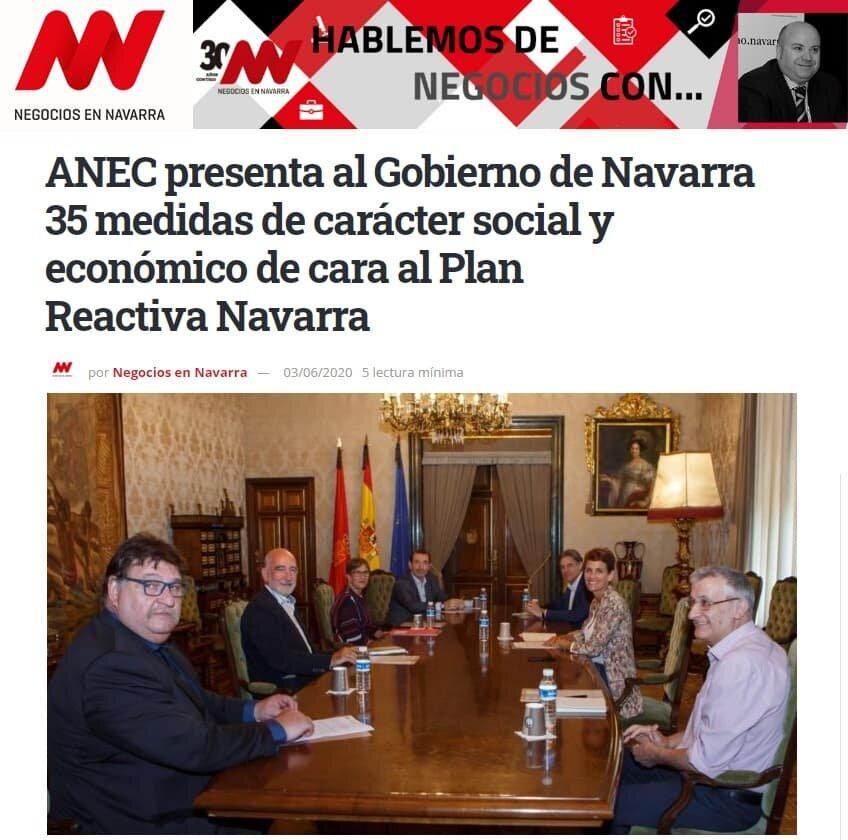 Nota de prensa en Negocios de Navarra